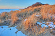 Frozen Beach Shore Prints - Winter Landscape Saugatuck Dunes Print by Dean Pennala