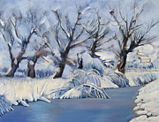 River View Paintings - Winter landscape by Stoiko Donev