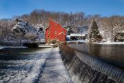 Snow Covered Village Prints - Winter Landscape with a Red Mill Clinton New Jersey Print by George Oze
