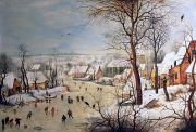 Snow Scenes Prints - Winter Landscape with Birdtrap Print by Pieter the elder Bruegel