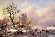 Village Paintings - Winter Landscape with Castle by Frederick Marianus Kruseman
