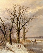 Snow Painting Framed Prints - Winter landscape with faggot gatherers conversing on a frozen lake Framed Print by Josephus Gerardus Hans