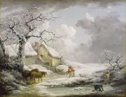 Old Woman Framed Prints - Winter Landscape with Men Snowballing an Old Woman Framed Print by George Morland