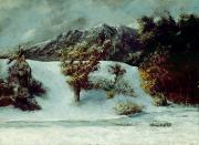 Winter Scenes Painting Metal Prints - Winter Landscape With The Dents Du Midi Metal Print by Gustave Courbet
