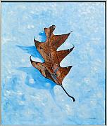Leaf Detail Framed Prints - Winter Leaf Framed Print by Erik Schutzman