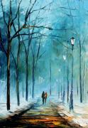 Winter Night Metal Prints - Winter Metal Print by Leonid Afremov