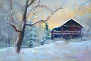Log Home Posters - Winter Light Poster by MaryAnn Cleary
