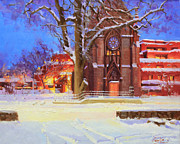 Winter Landscape Paintings - Winter Lorreto chapel by Gary Kim