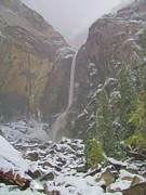 Yosemite Falls Metal Prints - Winter Lower Yosemite Falls Metal Print by Heidi Smith