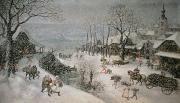 Village Scene Paintings - Winter by Lucas van Valckenborch
