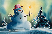 Snow Scene Mixed Media Prints - Winter Magic Print by Ray Swaluk