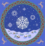 Night Lamp Painting Originals - Winter mandala by Karen MacKenzie
