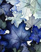 Winter Painting Prints - Winter Maple Leaves Print by Christina Meeusen