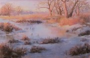 Stream Pastels Originals - Winter Marsh Series- Fire and Ice by Bill Puglisi