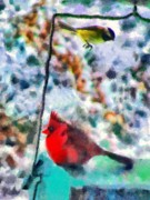 Cardinals Mixed Media - Winter Meals by Marilyn Sholin