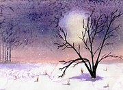Lone Tree Painting Prints - Winter Moon Print by BJ Clausen