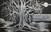 Tree Roots Paintings - Winter Moon by Carolyn Cable