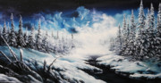 Snow Scene Painting Originals - Winter Moon by David Paul