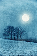 Snowy Evening Prints - Winter Moon over Farm Field Print by Jill Battaglia