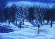 Moonlight Drawings - Winter Moonlight by Iryna Ivanova