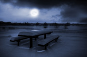 Park Scene Digital Art Prints - Winter Moonlight Print by Jaroslaw Grudzinski
