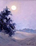 Meditative Paintings - Winter Moonrise by Karin  Leonard