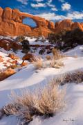 Slickrock Prints - Winter Morning at Arches National Park Print by Utah Images
