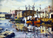 Factories Paintings - Winter morning at Head Of The Harbor by Chris Coyne