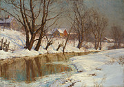 Rural Landscape Metal Prints - Winter Morning Metal Print by Walter Launt Palmer