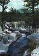 Snowy Stream Paintings - Winter Mountain Creek by Claire Gagnon