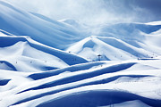 Christmas Holiday Scenery Art - Winter mountain ski resort by Anna Omelchenko