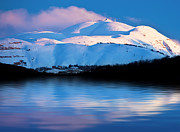 White River Scene Posters - Winter mountains and lake snowy landscape Poster by Anna Omelchenko