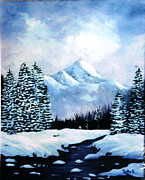 Snow Covered Pine Trees Paintings - Winter Mountains by Phyllis Kaltenbach