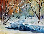 Winter Landscape Paintings - Winter New by Leonid Afremov