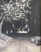 Snowy Night Painting Metal Prints - Winter Night Metal Print by Donna Lange