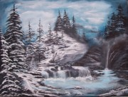 Fall Trees With Stream. Art - Winter Night Falls by Leslie Allen