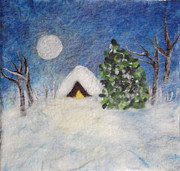 Winter Night Mixed Media Posters - Winter Night Poster by Gina Barakov