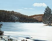 Snow Landscapes Paintings - Winter on an Ontario Lake  by Kenneth M  Kirsch