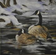 Canadian Geese Paintings - Winter On Broadcreek by Kathleen Marshall
