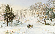 Road Travel Painting Posters - Winter on Ravensdale Road Poster by Jasper Francis Cropsey