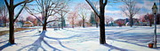 New England Village Originals - Winter on Sturbridge Common by Linda Spencer