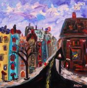 Outsider Art Paintings - Winter on the Boulevard by Mary Carol Williams