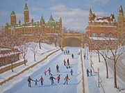 Skating Paintings - Winter on the Canal by Darlene Agner