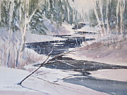 Great Outdoors Paintings - Winter on the Sturgeon by Sandra Strohschein