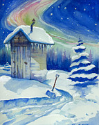 Northern Lights Mixed Media Posters - Winter Outhouse Poster by Peggy Wilson