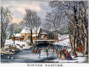 Lithograph Framed Prints - Winter Pastime, 1870 Framed Print by Granger