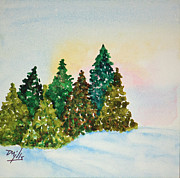 Snowy Trees Paintings - Winter Pines by Terri Mills