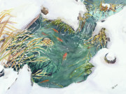 Snow Drifts Painting Posters - Winter Pond 2 Poster by Madeleine Arnett
