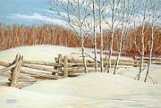 Split Rail Fence Painting Prints - Winter Poplars 2 Print by Richard De Wolfe