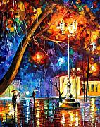 Rain Painting Framed Prints - Winter Rain Framed Print by Leonid Afremov